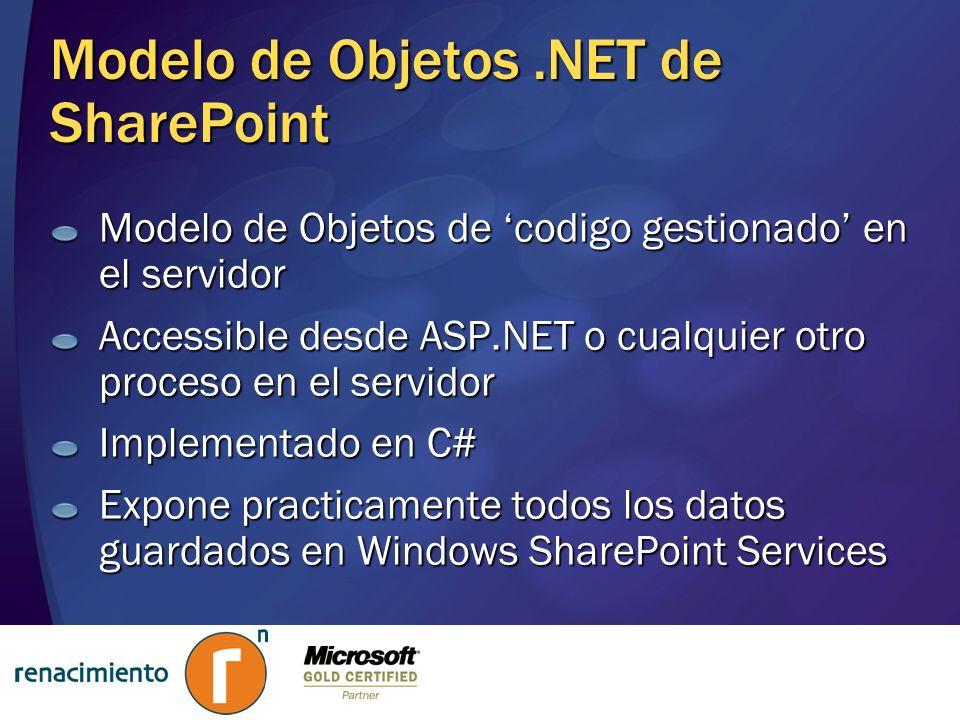 Modelo de Objetos.NET de SharePoint Modelo de Objetos de codigo gestionado en el servidor Accessible desde ASP.NET o cualquier otro proceso en el serv
