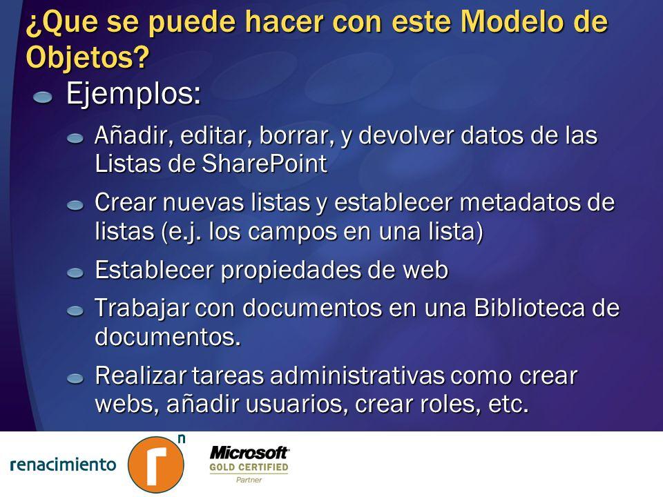¿Que se puede hacer con este Modelo de Objetos? Ejemplos: Añadir, editar, borrar, y devolver datos de las Listas de SharePoint Crear nuevas listas y e