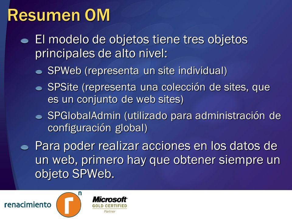 Resumen OM El modelo de objetos tiene tres objetos principales de alto nivel: SPWeb (representa un site individual) SPSite (representa una colección d