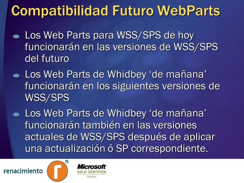 Compatibilidad Futuro WebParts Los Web Parts para WSS/SPS de hoy funcionarán en las versiones de WSS/SPS del futuro Los Web Parts de Whidbey de mañana