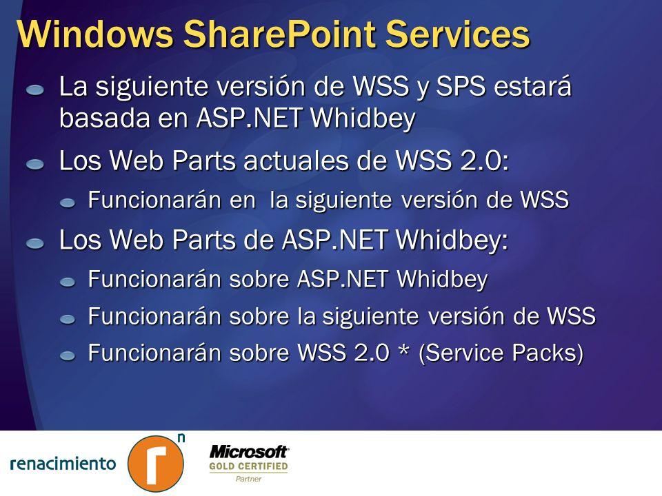 Windows SharePoint Services La siguiente versión de WSS y SPS estará basada en ASP.NET Whidbey Los Web Parts actuales de WSS 2.0: Funcionarán en la si