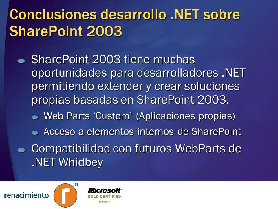 Conclusiones desarrollo.NET sobre SharePoint 2003 SharePoint 2003 tiene muchas oportunidades para desarrolladores.NET permitiendo extender y crear sol