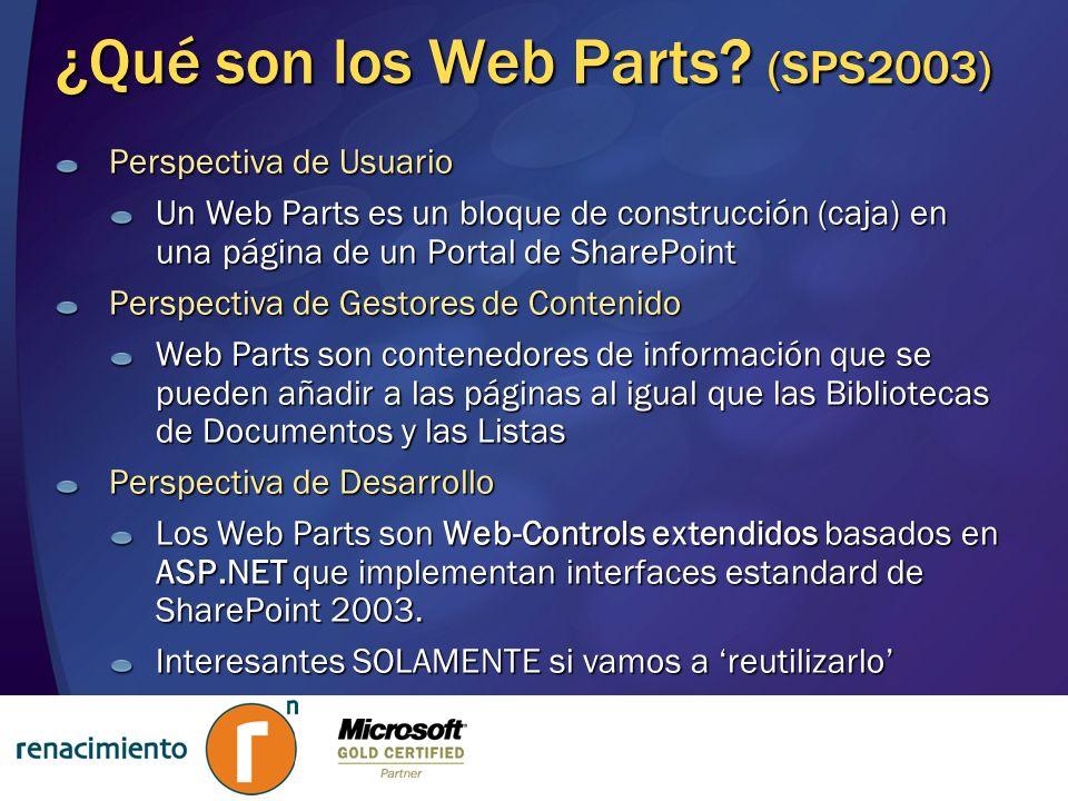 ¿Qué son los Web Parts? (SPS2003) Perspectiva de Usuario Un Web Parts es un bloque de construcción (caja) en una página de un Portal de SharePoint Per