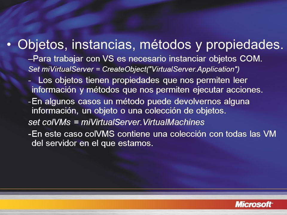 Objetos, instancias, métodos y propiedades. –Para trabajar con VS es necesario instanciar objetos COM. Set miVirtualServer = CreateObject(