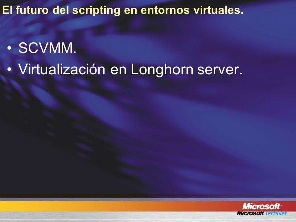 El futuro del scripting en entornos virtuales. SCVMM. Virtualización en Longhorn server.