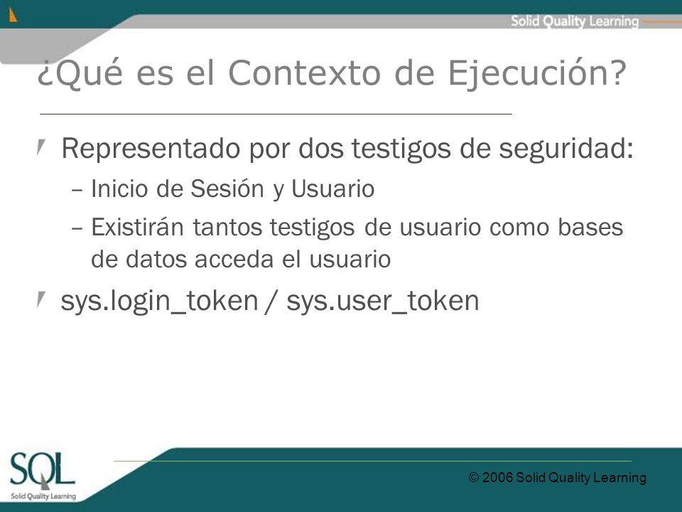 © 2006 Solid Quality Learning ¿Qué es el Contexto de Ejecución.