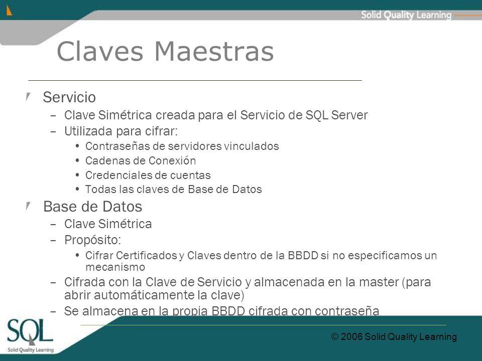 © 2006 Solid Quality Learning Claves Maestras Servicio –Clave Simétrica creada para el Servicio de SQL Server –Utilizada para cifrar: Contraseñas de s