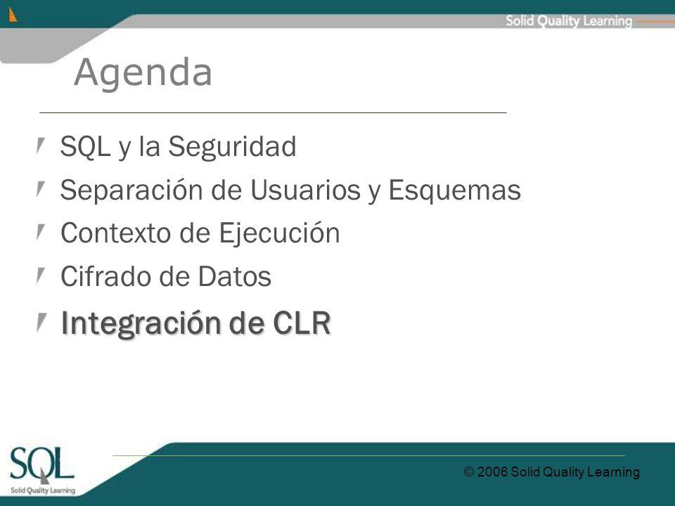 © 2006 Solid Quality Learning Agenda SQL y la Seguridad Separación de Usuarios y Esquemas Contexto de Ejecución Cifrado de Datos Integración de CLR