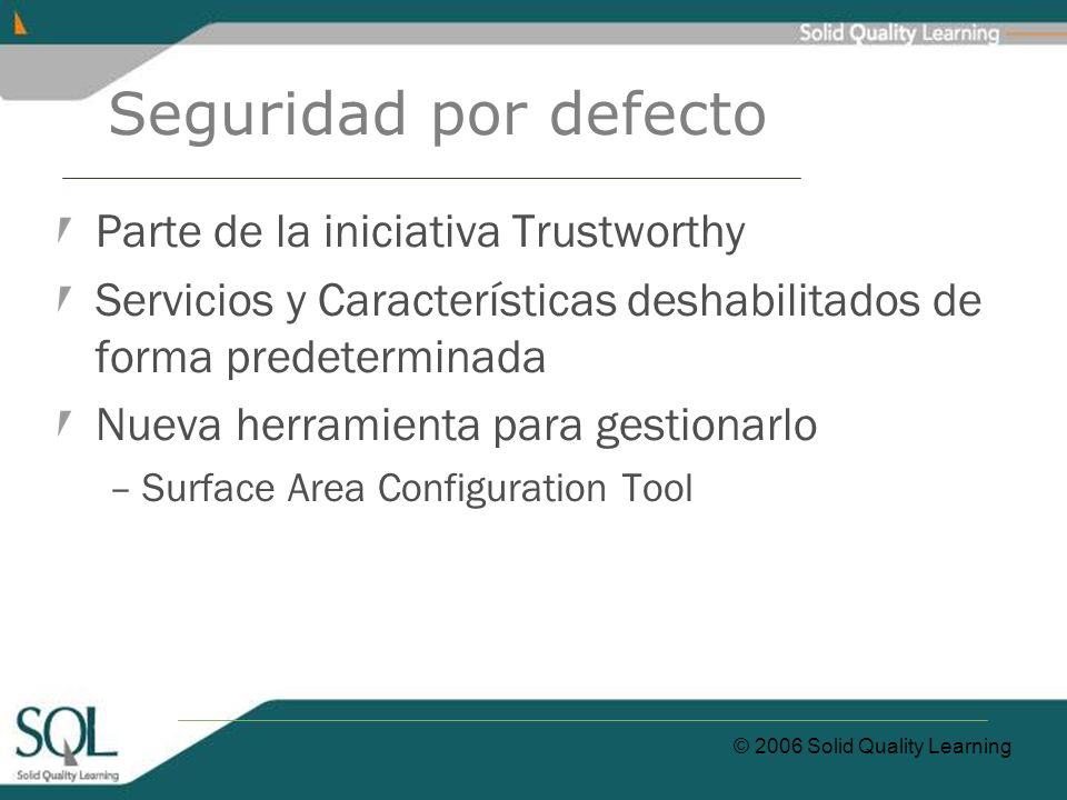 © 2006 Solid Quality Learning Seguridad por defecto Parte de la iniciativa Trustworthy Servicios y Características deshabilitados de forma predetermin