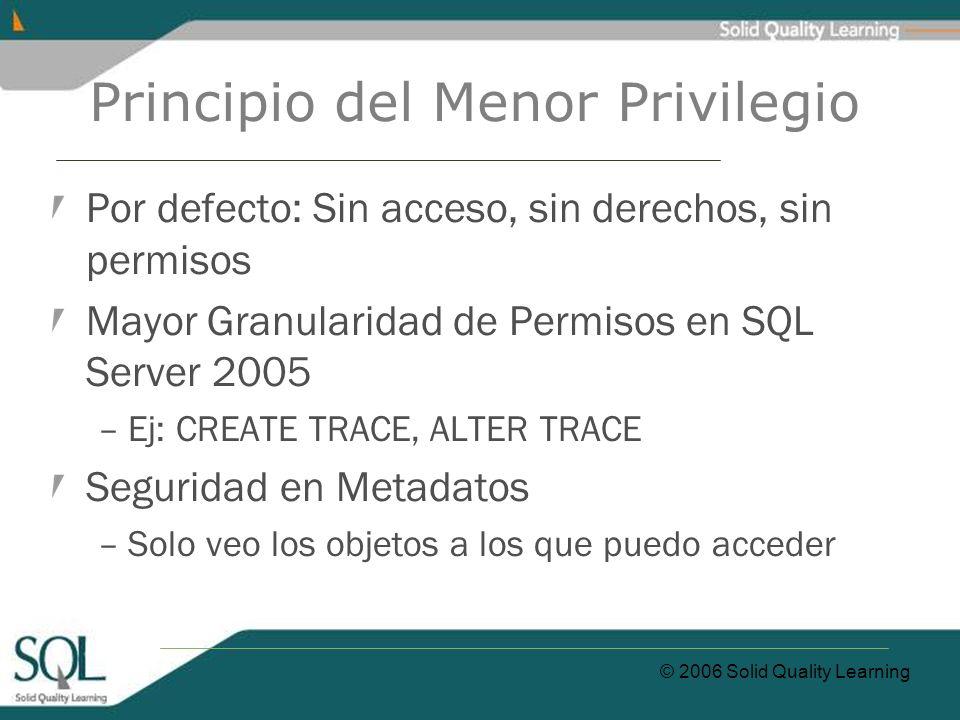 © 2006 Solid Quality Learning Principio del Menor Privilegio Por defecto: Sin acceso, sin derechos, sin permisos Mayor Granularidad de Permisos en SQL Server 2005 –Ej: CREATE TRACE, ALTER TRACE Seguridad en Metadatos –Solo veo los objetos a los que puedo acceder