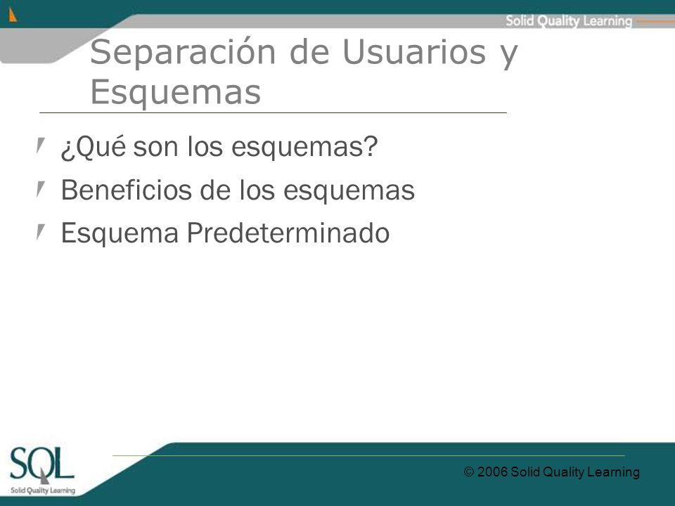© 2006 Solid Quality Learning Separación de Usuarios y Esquemas ¿Qué son los esquemas? Beneficios de los esquemas Esquema Predeterminado