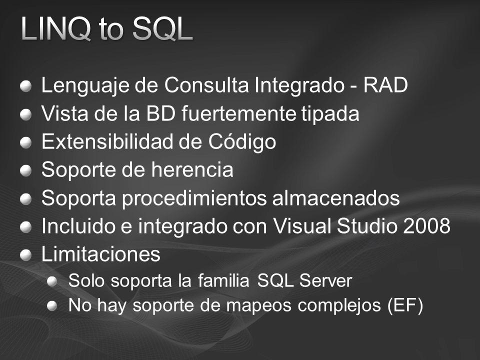Lenguaje de Consulta Integrado - RAD Vista de la BD fuertemente tipada Extensibilidad de Código Soporte de herencia Soporta procedimientos almacenados Incluido e integrado con Visual Studio 2008 Limitaciones Solo soporta la familia SQL Server No hay soporte de mapeos complejos (EF)