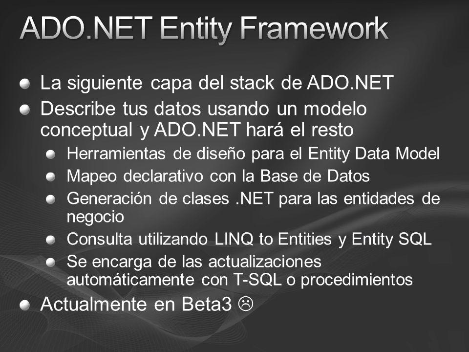 La siguiente capa del stack de ADO.NET Describe tus datos usando un modelo conceptual y ADO.NET hará el resto Herramientas de diseño para el Entity Data Model Mapeo declarativo con la Base de Datos Generación de clases.NET para las entidades de negocio Consulta utilizando LINQ to Entities y Entity SQL Se encarga de las actualizaciones automáticamente con T-SQL o procedimientos Actualmente en Beta3