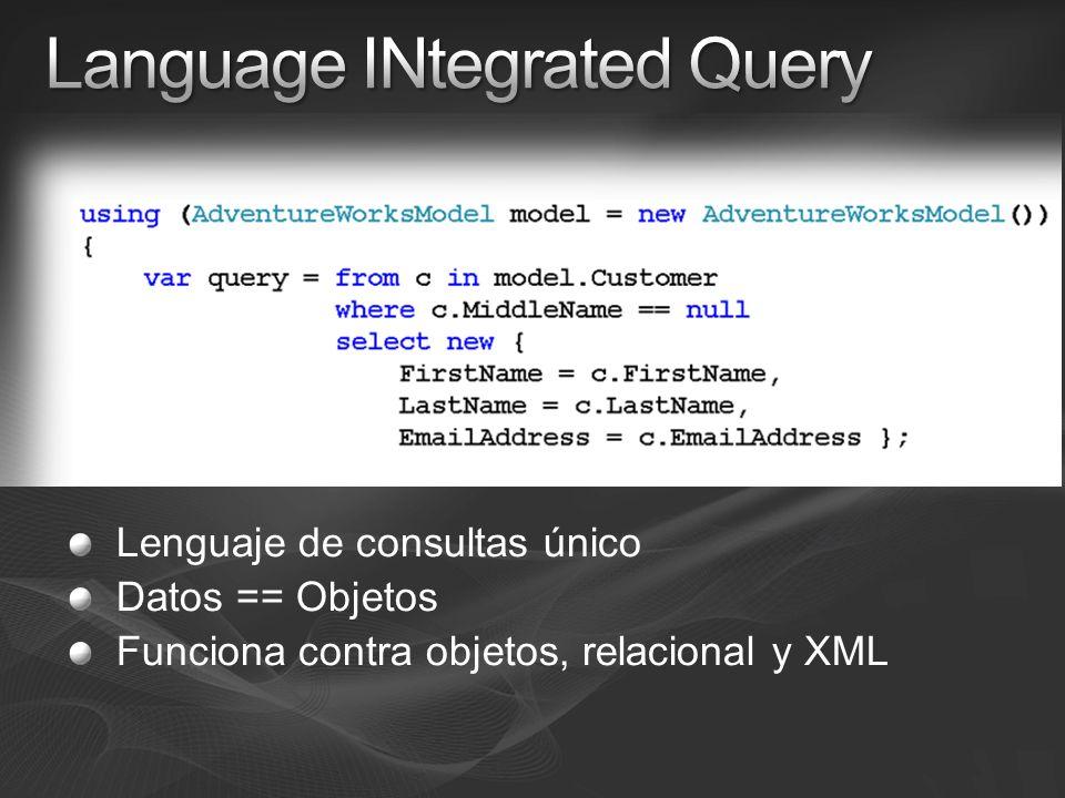 Lenguaje de consultas único Datos == Objetos Funciona contra objetos, relacional y XML
