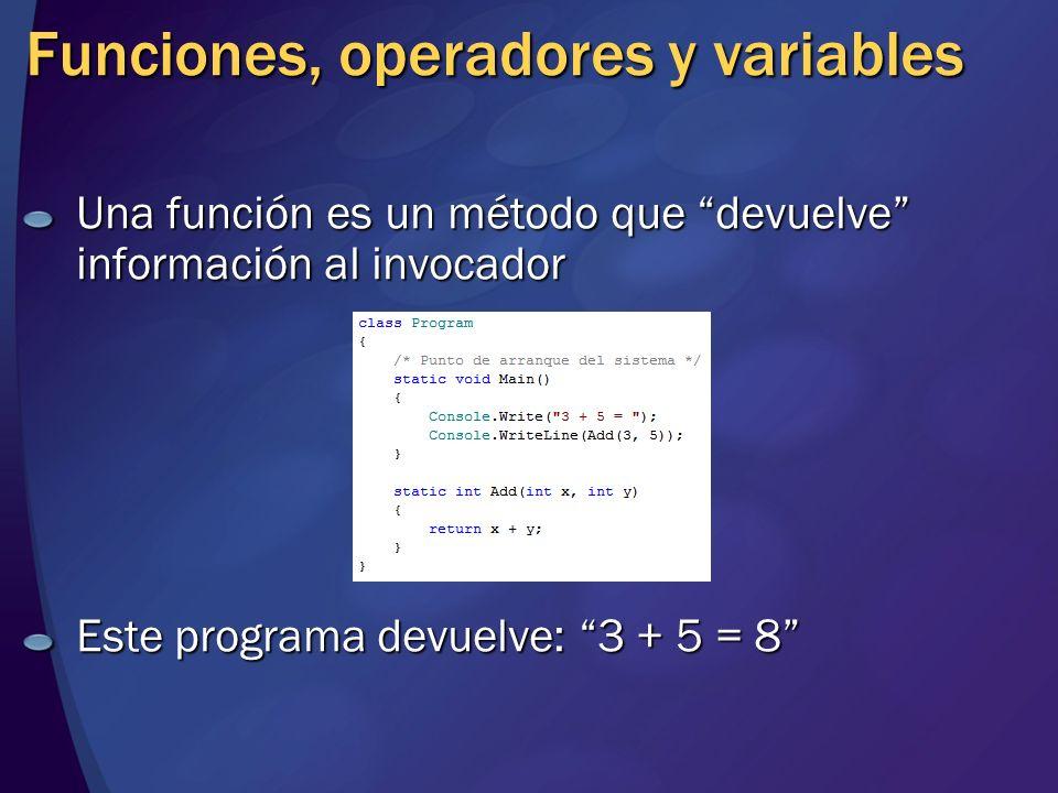 Funciones, operadores y variables Una función es un método que devuelve información al invocador Este programa devuelve: 3 + 5 = 8