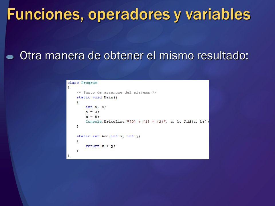 Funciones, operadores y variables Otra manera de obtener el mismo resultado: