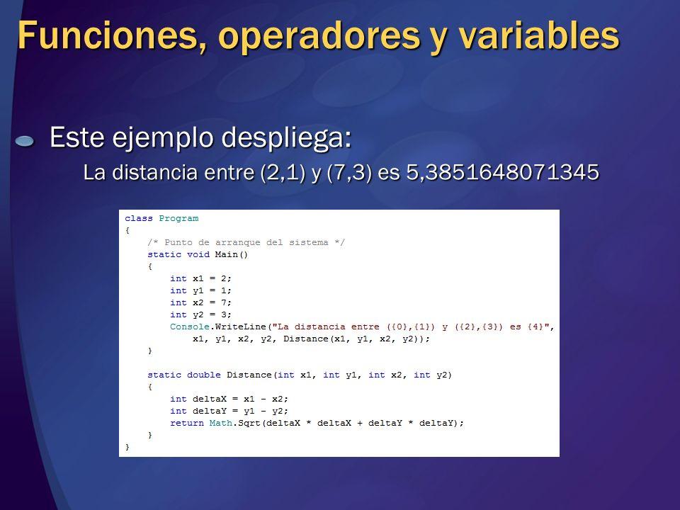 Funciones, operadores y variables Este ejemplo despliega: La distancia entre (2,1) y (7,3) es 5,3851648071345