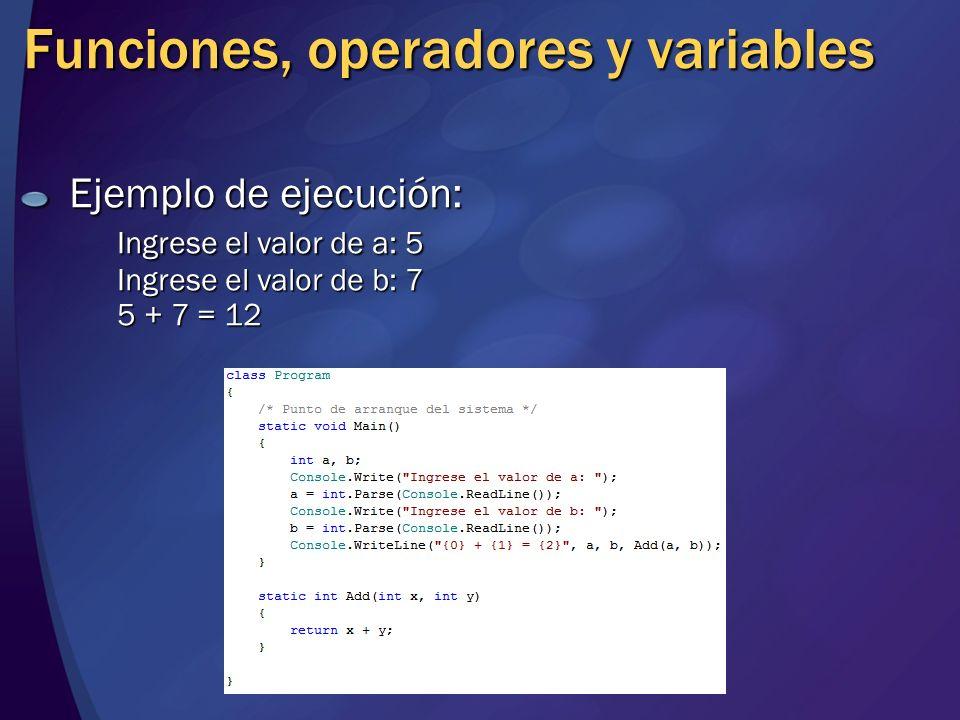Funciones, operadores y variables Ejemplo de ejecución: Ingrese el valor de a: 5 Ingrese el valor de b: 7 5 + 7 = 12