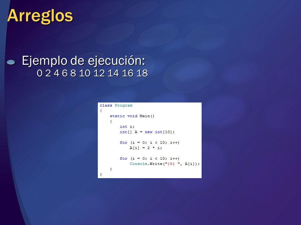 Arreglos Ejemplo de ejecución: 0 2 4 6 8 10 12 14 16 18