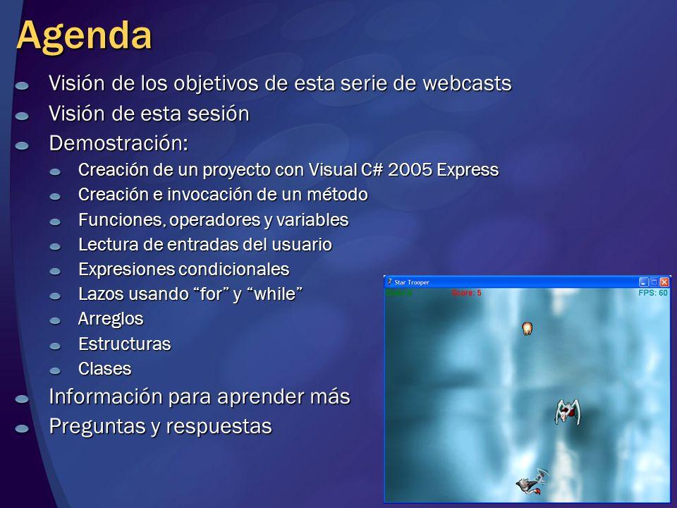 Agenda Visión de los objetivos de esta serie de webcasts Visión de esta sesión Demostración: Creación de un proyecto con Visual C# 2005 Express Creaci