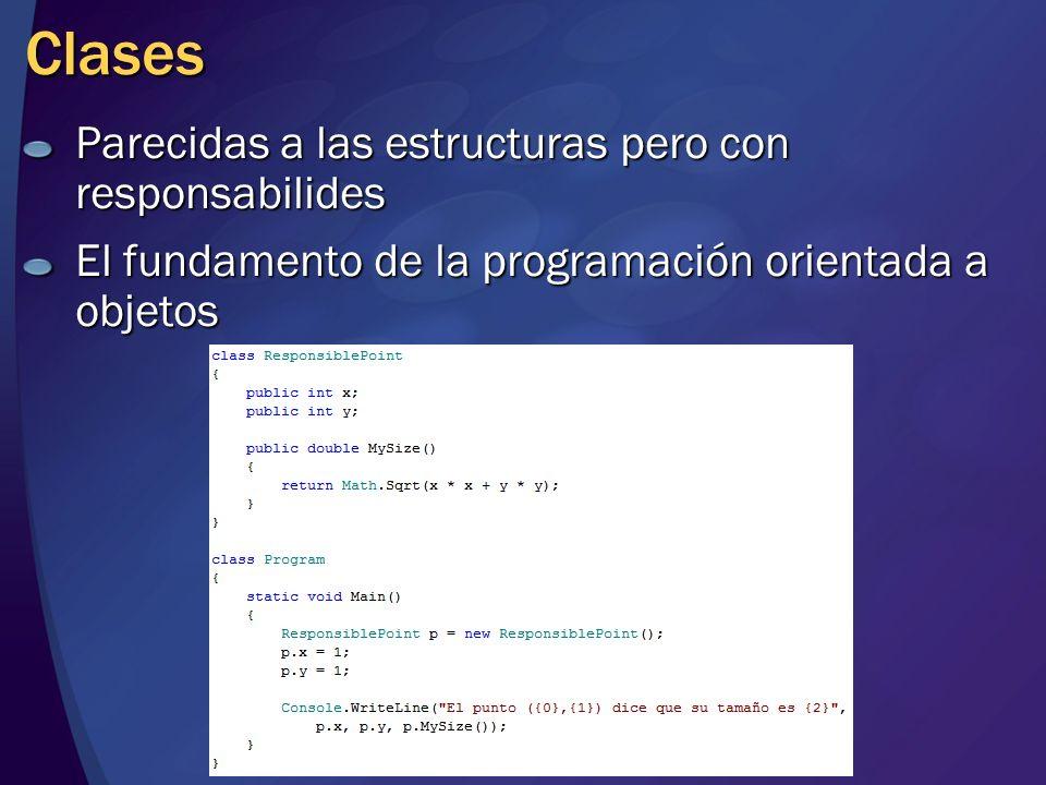 Clases Parecidas a las estructuras pero con responsabilides El fundamento de la programación orientada a objetos
