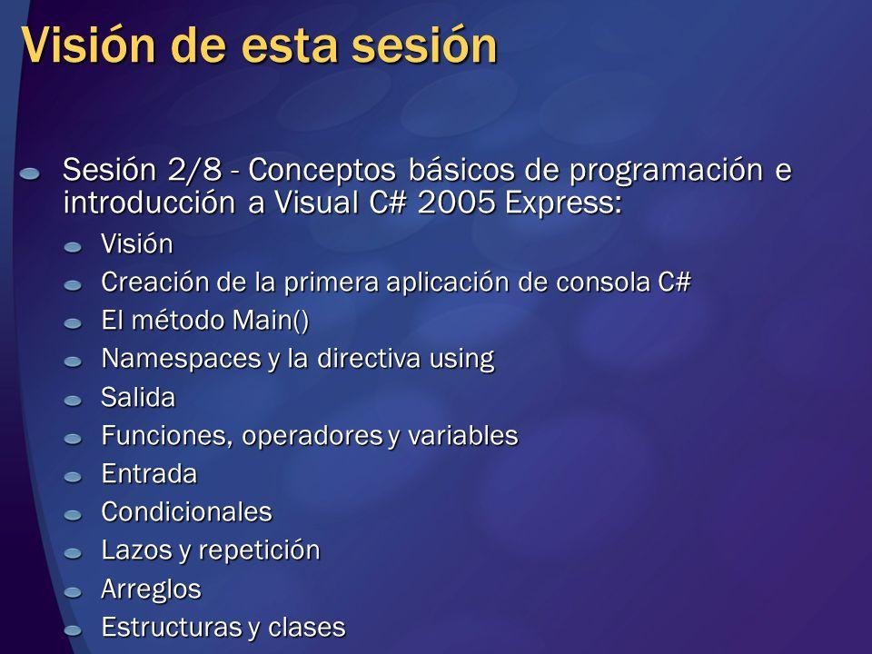 Visión de esta sesión Sesión 2/8 - Conceptos básicos de programación e introducción a Visual C# 2005 Express: Visión Creación de la primera aplicación