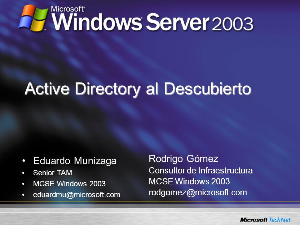 Active Directory al Descubierto Rodrigo Gómez Consultor de Infraestructura MCSE Windows 2003 rodgomez@microsoft.com Eduardo Munizaga Senior TAM MCSE W