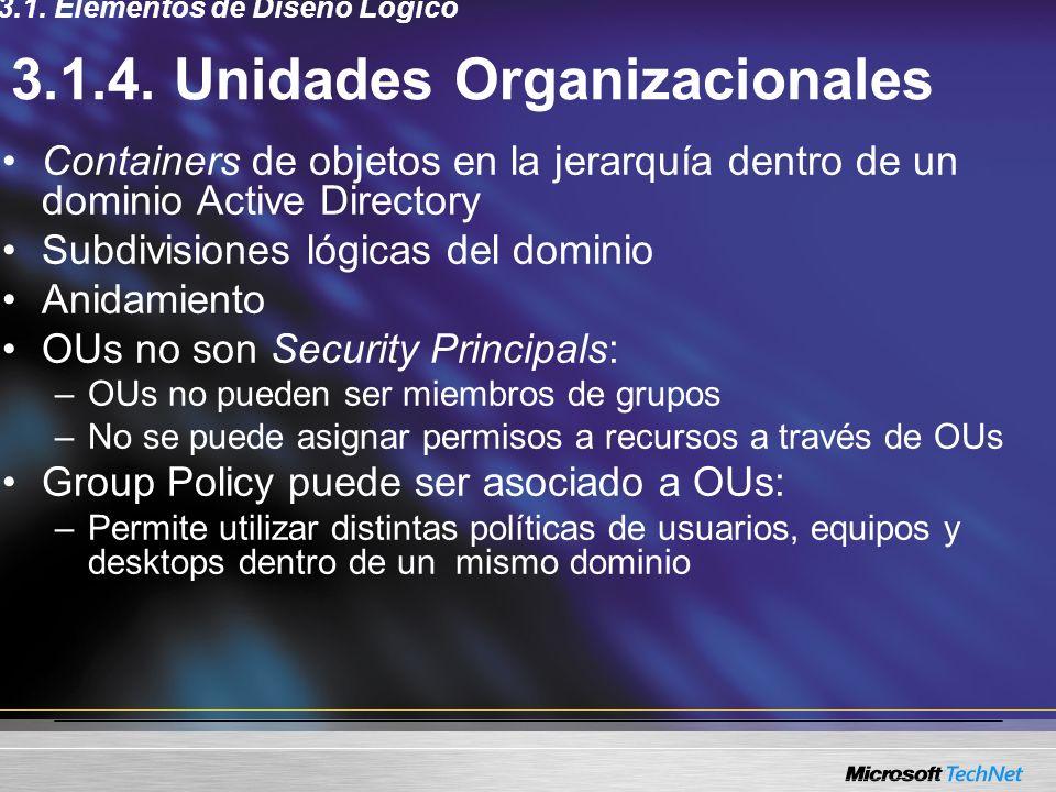 3.1.4. Unidades Organizacionales Containers de objetos en la jerarquía dentro de un dominio Active Directory Subdivisiones lógicas del dominio Anidami