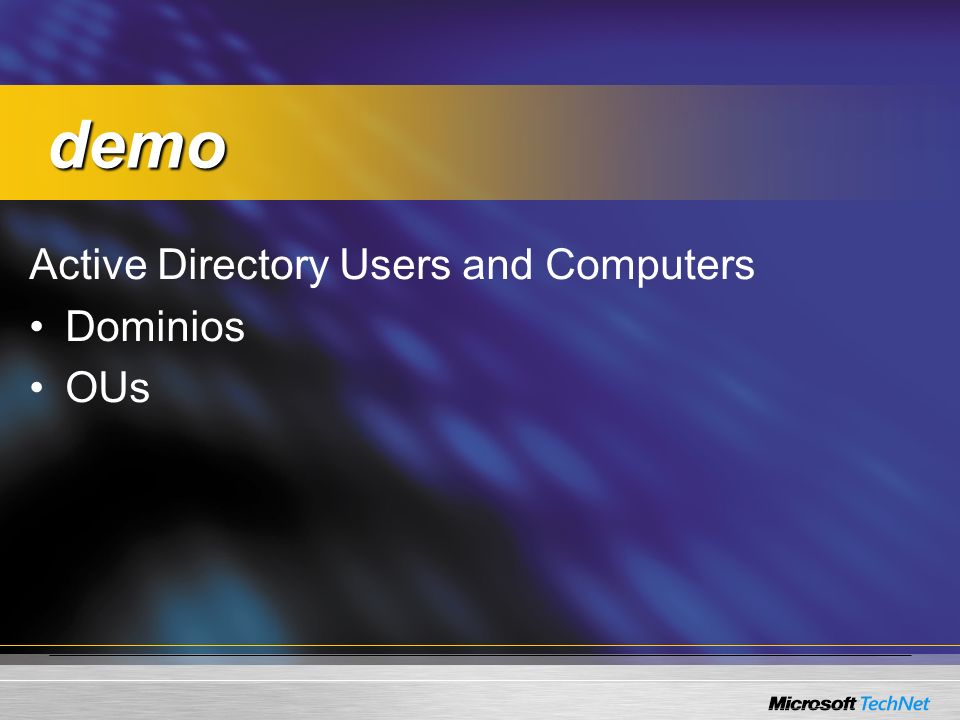 Active Directory Users and Computers Dominios OUs demo demo