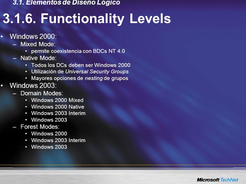 3.1.6. Functionality Levels Windows 2000: –Mixed Mode: permite coexistencia con BDCs NT 4.0 –Native Mode: Todos los DCs deben ser Windows 2000 Utiliza