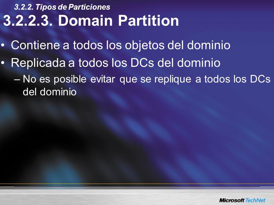 3.2.2.3. Domain Partition Contiene a todos los objetos del dominio Replicada a todos los DCs del dominio –No es posible evitar que se replique a todos