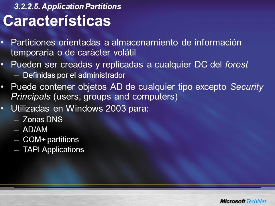Características Particiones orientadas a almacenamiento de información temporaria o de carácter volátil Pueden ser creadas y replicadas a cualquier DC