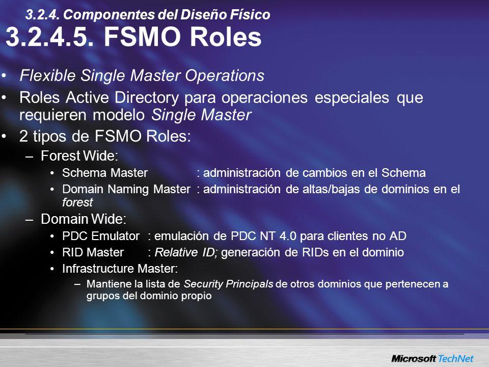 3.2.4.5. FSMO Roles Flexible Single Master Operations Roles Active Directory para operaciones especiales que requieren modelo Single Master 2 tipos de