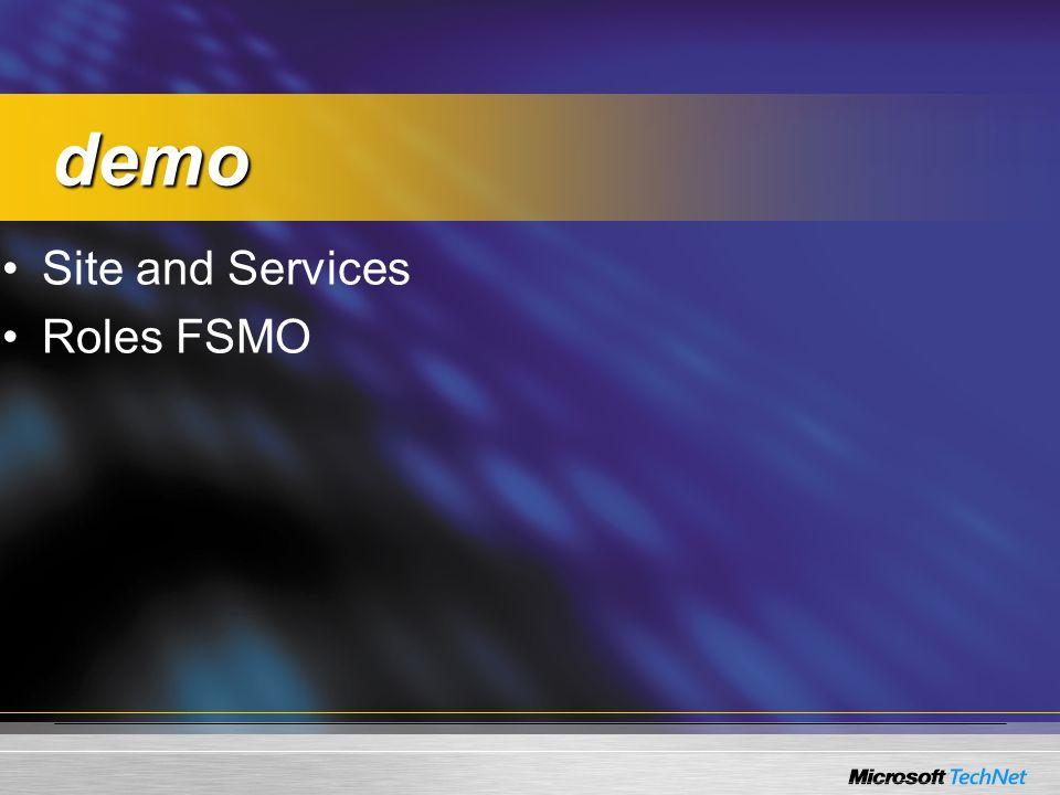 Site and Services Roles FSMO demo demo