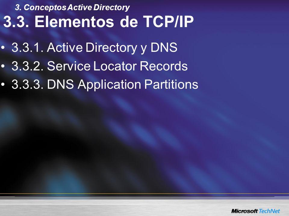 3.3. Elementos de TCP/IP 3.3.1. Active Directory y DNS 3.3.2. Service Locator Records 3.3.3. DNS Application Partitions 3. Conceptos Active Directory