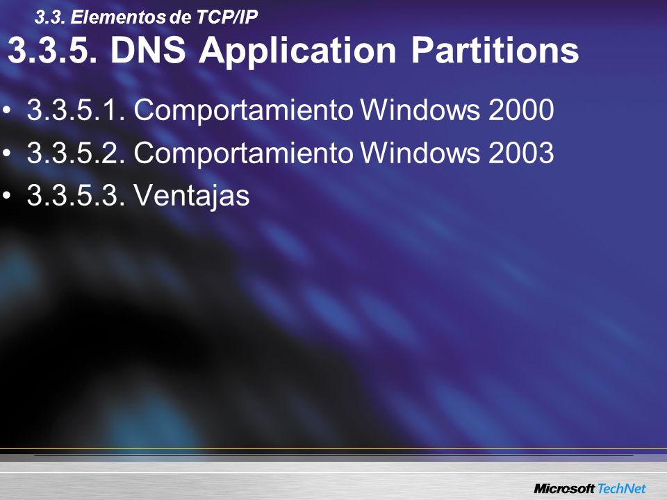 3.3.5. DNS Application Partitions 3.3.5.1. Comportamiento Windows 2000 3.3.5.2. Comportamiento Windows 2003 3.3.5.3. Ventajas 3.3. Elementos de TCP/IP