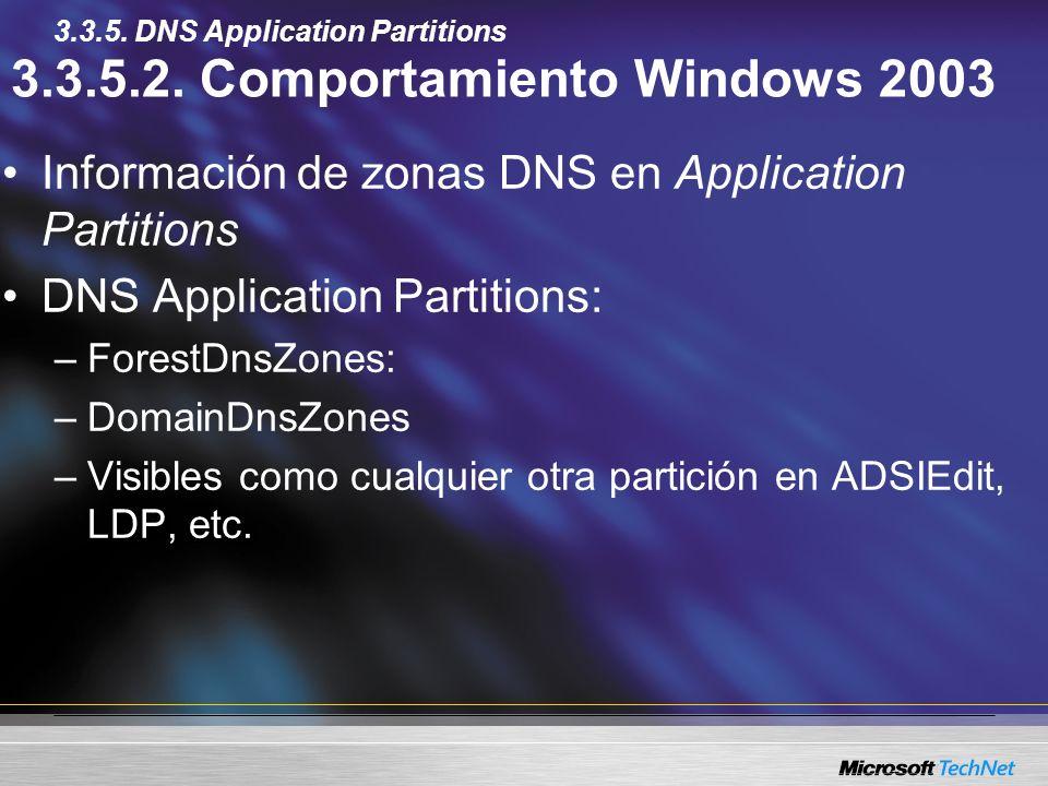 3.3.5.2. Comportamiento Windows 2003 Información de zonas DNS en Application Partitions DNS Application Partitions: –ForestDnsZones: –DomainDnsZones –