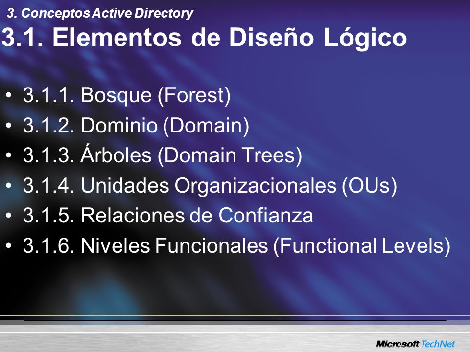 3.1. Elementos de Diseño Lógico 3.1.1. Bosque (Forest) 3.1.2. Dominio (Domain) 3.1.3. Árboles (Domain Trees) 3.1.4. Unidades Organizacionales (OUs) 3.