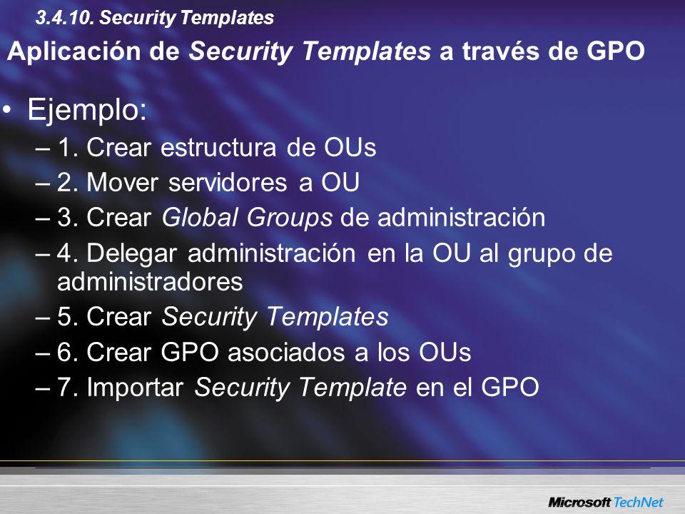 Aplicación de Security Templates a través de GPO Ejemplo: –1. Crear estructura de OUs –2. Mover servidores a OU –3. Crear Global Groups de administrac