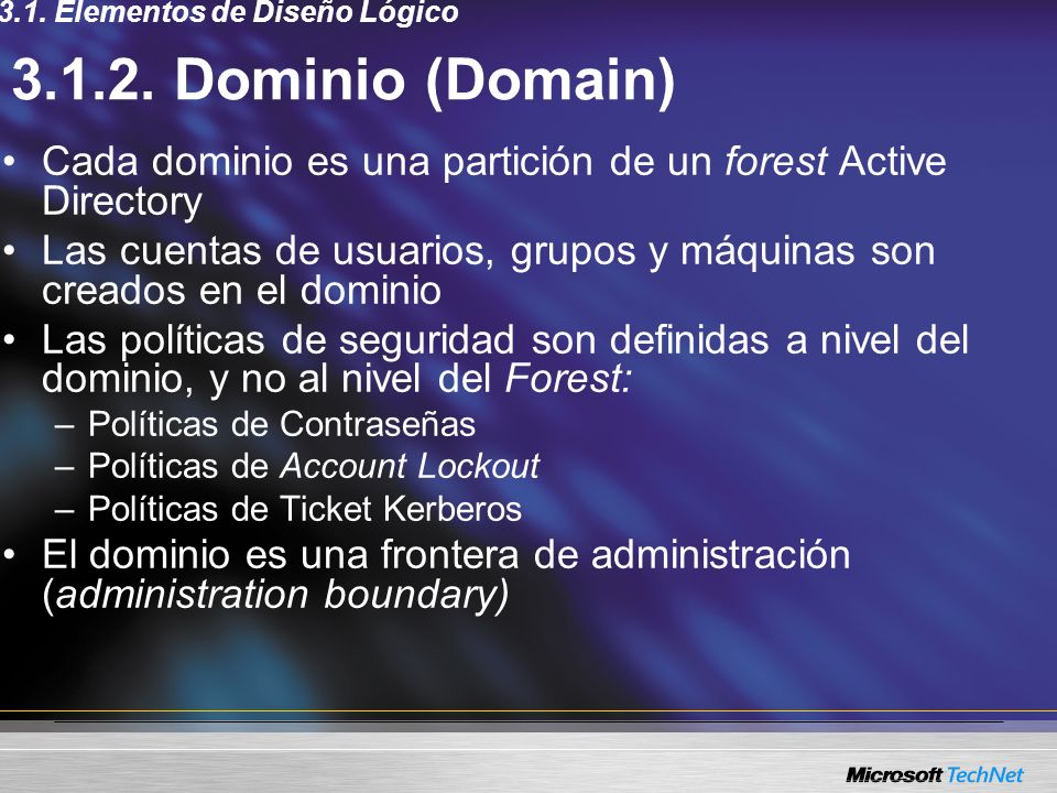 Componentes En las workstations: –Client-side Extensions: DLLs que procesan los GPOs –Lista de DLLs: Registry (in Administrative Templates): Userenv.dll Disk Quota (in Administrative Templates): Dskquota.dll Folder Redirection: Fdeploy.dll Scripts: Gptext.dll Software Installation: Appmgmts.dll Security: Scecli.dll IP Security: Gptext.dll EFS (Encrypting File System) Recovery: Scecli.dll Internet Explorer Maintenance: Iedkcs32.dll 3.4.2.