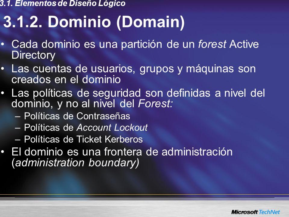 3.1.2. Dominio (Domain) Cada dominio es una partición de un forest Active Directory Las cuentas de usuarios, grupos y máquinas son creados en el domin