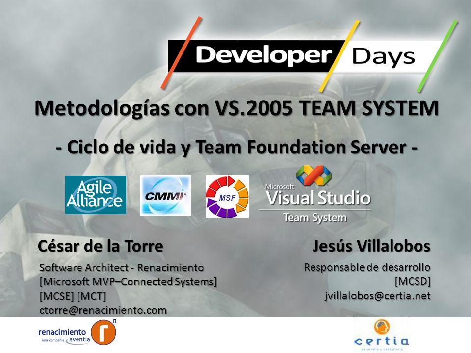 Metodologías con VS.2005 TEAM SYSTEM - Ciclo de vida y Team Foundation Server - Jesús Villalobos Responsable de desarrollo [MCSD]jvillalobos@certia.ne