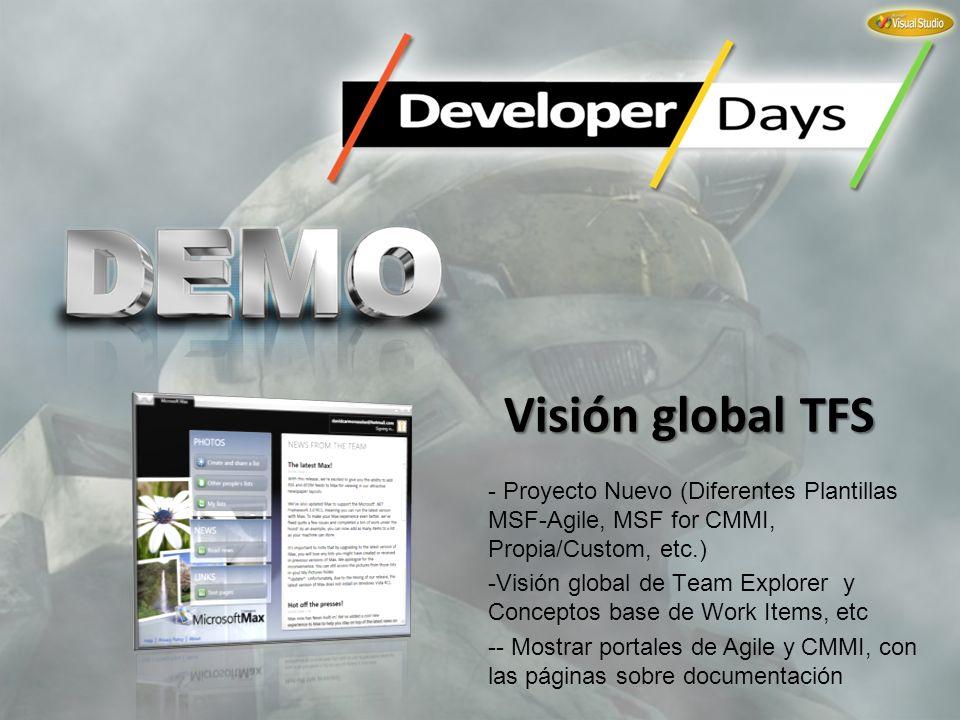Visión global TFS - Proyecto Nuevo (Diferentes Plantillas MSF-Agile, MSF for CMMI, Propia/Custom, etc.) -Visión global de Team Explorer y Conceptos ba