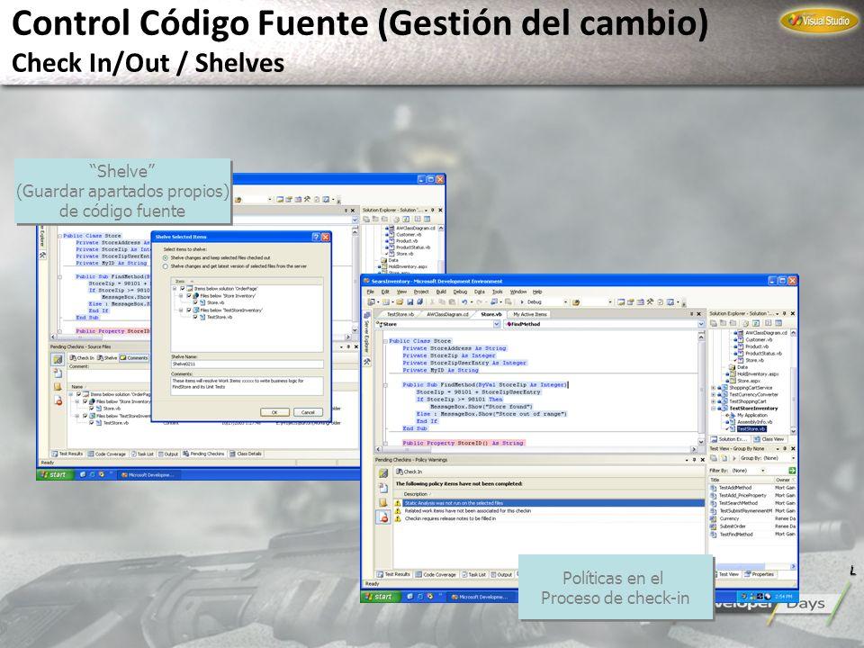 Control Código Fuente (Gestión del cambio) Check In/Out / Shelves Shelve (Guardar apartados propios) de código fuente Shelve (Guardar apartados propio