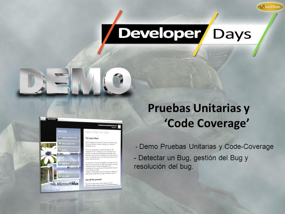 Pruebas Unitarias y Code Coverage - Demo Pruebas Unitarias y Code-Coverage - Detectar un Bug, gestión del Bug y resolución del bug.