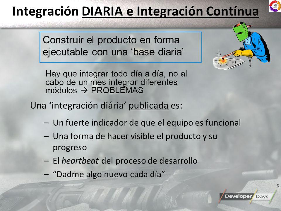 Integración DIARIA e Integración Contínua Una integración diária publicada es: –Un fuerte indicador de que el equipo es funcional –Una forma de hacer