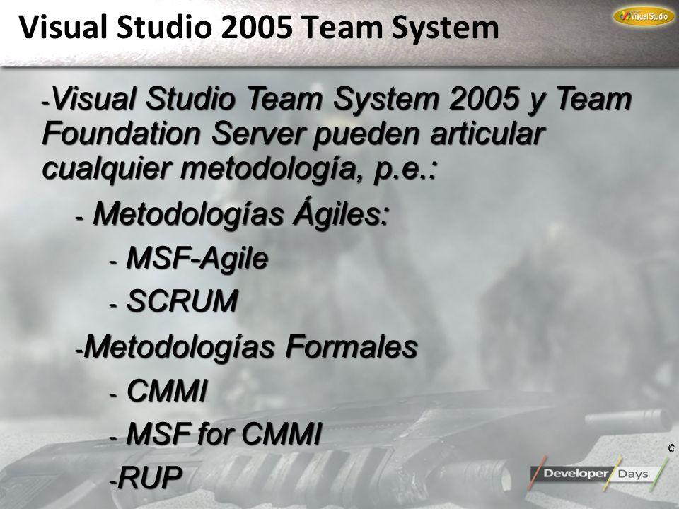 Visual Studio 2005 Team System - Visual Studio Team System 2005 y Team Foundation Server pueden articular cualquier metodología, p.e.: - Metodologías
