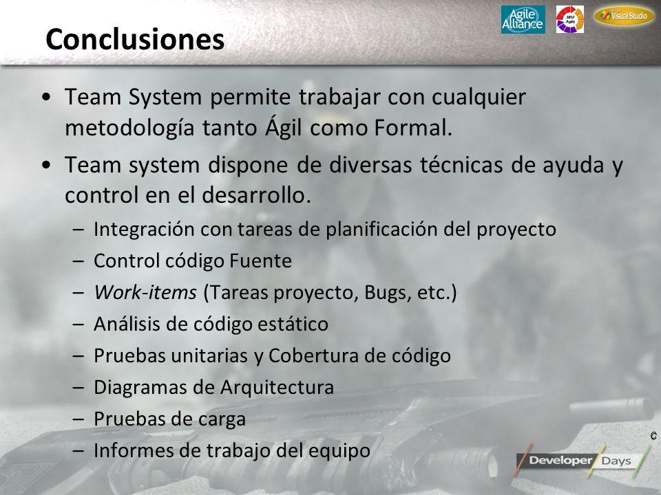Conclusiones Team System permite trabajar con cualquier metodología tanto Ágil como Formal. Team system dispone de diversas técnicas de ayuda y contro