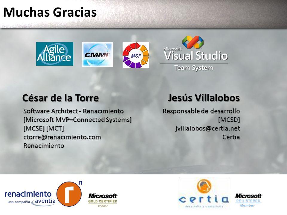 Muchas Gracias MSF Jesús Villalobos Responsable de desarrollo [MCSD]jvillalobos@certia.netCertia César de la Torre Software Architect - Renacimiento [