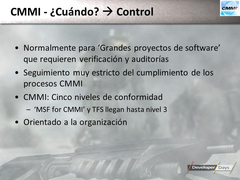 CMMI - ¿Cuándo? Control Normalmente para Grandes proyectos de software que requieren verificación y auditorías Seguimiento muy estricto del cumplimien